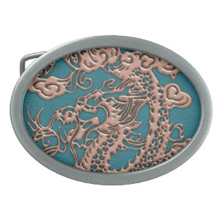 3D Metallic Dragons on Teal Leather Print Oval Belt Buckle
