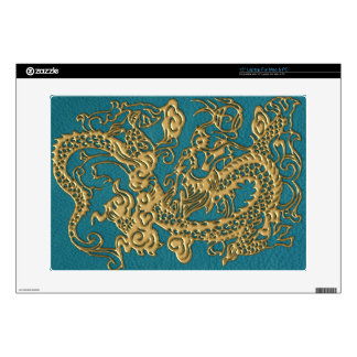 3D Metallic Dragons on Teal Leather Print Skin For Laptop