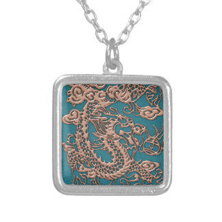 3D Metallic Dragons on Teal Leather Print Square Pendant Necklace