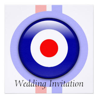 3d Mod target on Blue and red lines invitations