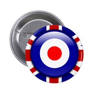 3D Mod target on Union jack print Pinback Button