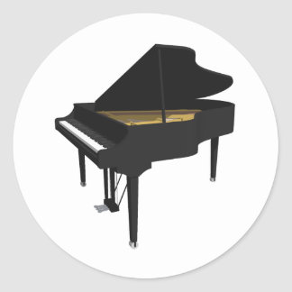 3D Model: Black Grand Piano: Classic Round Sticker