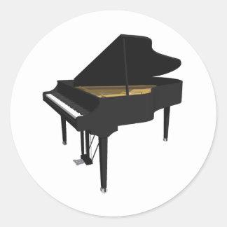 3D Model: Black Grand Piano: Classic Round Sticker