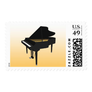 3D Model: Black Grand Piano: Postage Stamps
