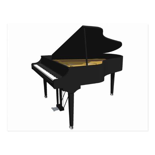 3D Model: Black Grand Piano: Postcard