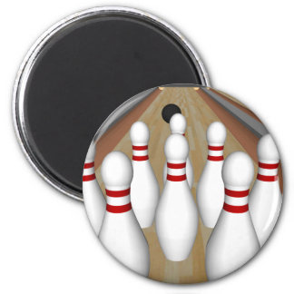 3D Model: Bowling Pins on Lane: 2 Inch Round Magnet