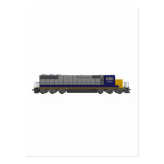 3D Model: Train Engine: Railroad: Postcard