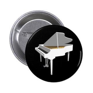 3D Model: White Grand Piano: 2 Inch Round Button