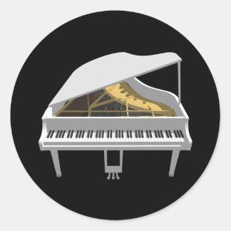 3D Model: White Grand Piano: Classic Round Sticker