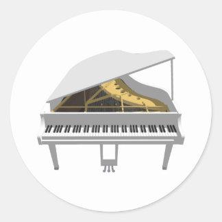 3D Model White Grand Piano Round Sticker