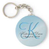 3d Monogram Aquamarine Keychain