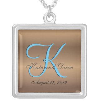 3d Monogram Bronze Wedding Silver Plated Necklace