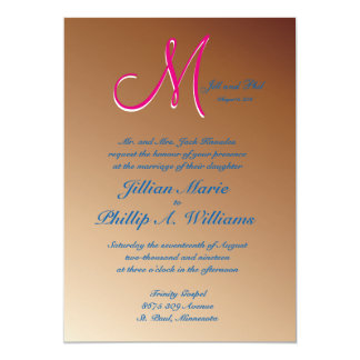 3d Monogram Copper 5x7 Paper Invitation Card