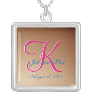 3d Monogram Copper Silver Plated Necklace