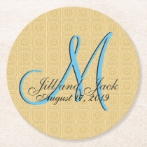 3d Monogram Faux Embossed Gold Round Paper Coaster