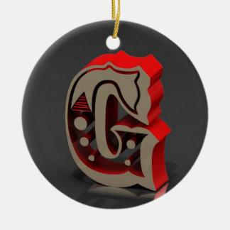 3D Monogram G Ceramic Ornament