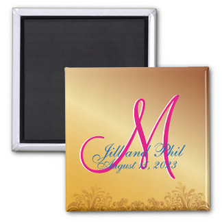 3d Monogram Gold Damask 2 Inch Square Magnet