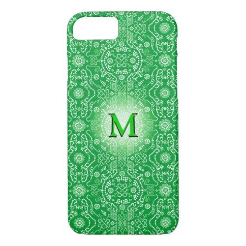 3D Monogram Green White Floral Phone Case