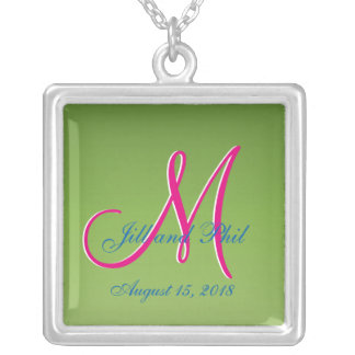 3d Monogram Light Green Silver Plated Necklace