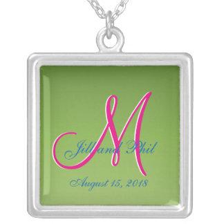 3d Monogram Light Green Square Pendant Necklace