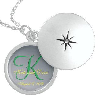 3d Monogram Pewter Round Locket Necklace