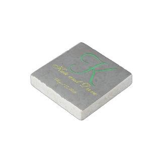 3d Monogram Pewter Stone Magnet