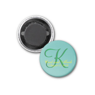 3d Monogram Teal Green 1 Inch Round Magnet