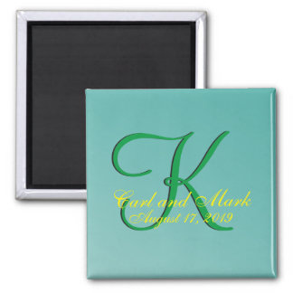 3d Monogram Teal Green 2 Inch Square Magnet