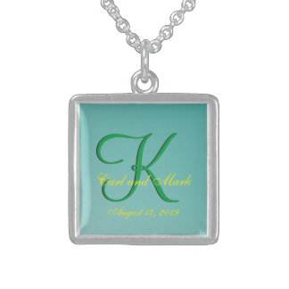 3d Monogram Teal Green Sterling Silver Necklace