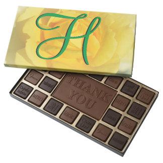 3d Monogram Yellow Rose 45 Piece Assorted Chocolate Box