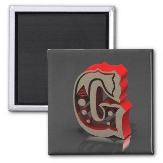 3D monograma G Imán Cuadrado