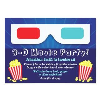 3D Movie Party Birthday Invitation
