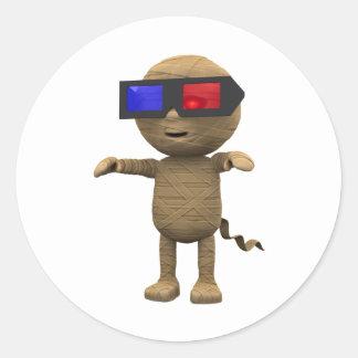 3d-mummy-3dmovie classic round sticker