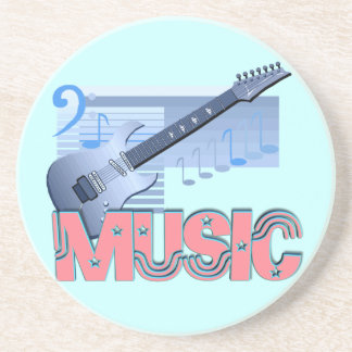 3d music one guitar blue green background drink coaster