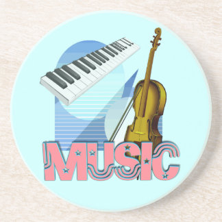 3d music violin & keyboard blue green background coaster