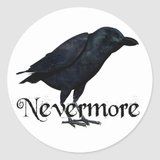 3D Nevermore Raven Classic Round Sticker