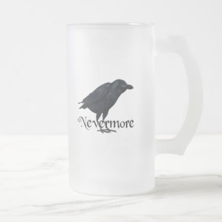 3D Nevermore Raven Frosted Glass Beer Mug