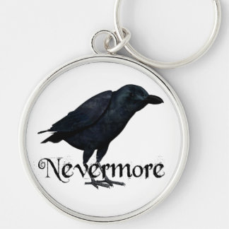 3D Nevermore Raven Silver-Colored Round Keychain