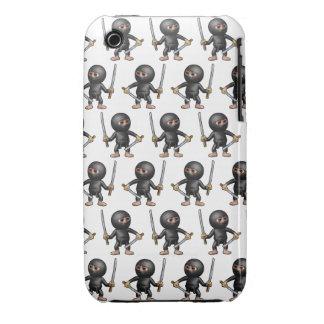 3d Ninja dos espadas cualquier color BG Case-Mate iPhone 3 Cárcasas