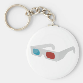 3d of glasses basic round button keychain