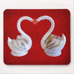 3D Origami Swans In Love With Heart Sillhouette Mouse Pad