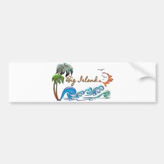 3d Palms, Waves & Sunset BIG ISLAND Bumper Sticker