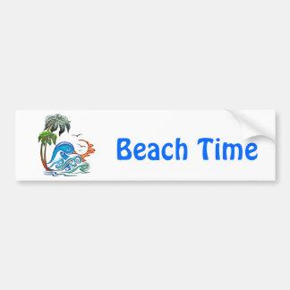 3D Palms, Waves & Sunset Bumper Sticker