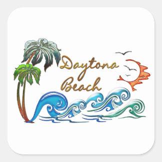 3d Palms, Waves & Sunset DAYTONA BEACH Square Sticker