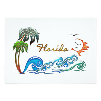 3d Palms, Waves & Sunset FLORIDA Card