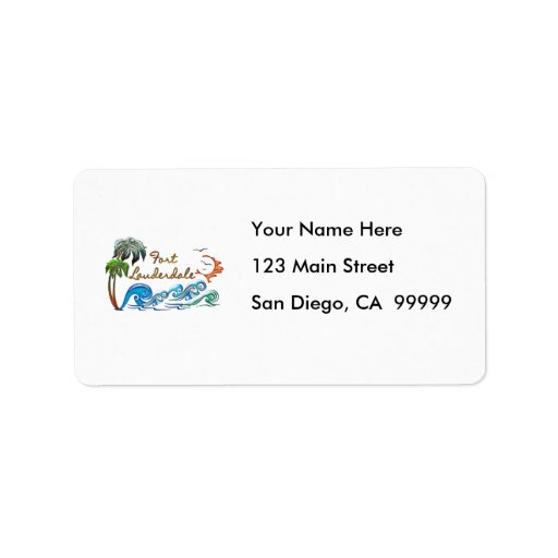 3d Palms, Waves & Sunset FORT LAUDERDALE Personalized Address Label