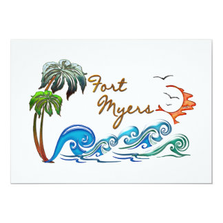 3d Palms, Waves & Sunset FORT MYERS 5x7 Paper Invitation Card