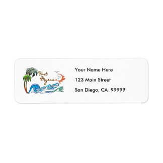 3d Palms, Waves & Sunset FORT MYERS Label