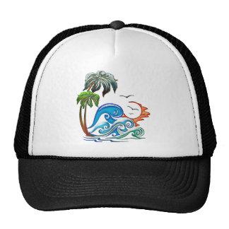 3D Palms, Waves & Sunset Mesh Hats