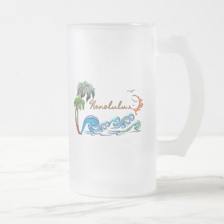 3d Palms, Waves & Sunset HONOLULU Frosted Glass Beer Mug